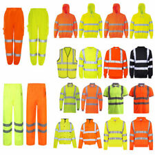Zip Hoodie High Viz Safety Hoody Jacket Men Hi Vis Visibility Work Wear Top S-XL