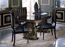 VERSACE STYLE ITALIAN HIGH GLOSS DINING EXTENDING TABLE WITH 6 FABRIC CHAIRS