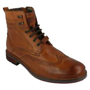 BUGATTI 311-37737-1100 MENS LEATHER SHOES BROGUE STYLE SMART FORMAL ANKLE BOOTS