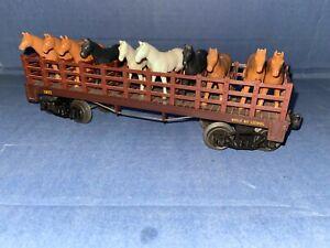 Lionel  Post War Flat Car #1877 General set Flatcar. 10 original horses.