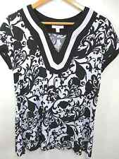 Black and White Women's Stretch Jersey Blouse 10 M Dressbarn V-Neck Floral Top