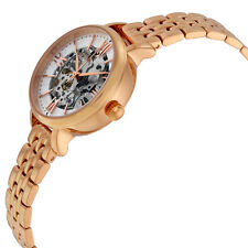 NIB FOSSIL ME3072 Womens Automatic Watch Jacqueline Skeleton Dial Rose Gold $265