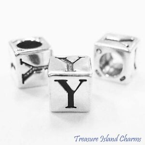 Letter Y 925 Solid Sterling Silver Alphabet 7mm Block Bead 5mm Hole Diameter