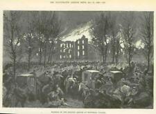 1890 Antique Print - CANADA MONTREAL BURNING LUNATIC ASYLUM (037)
