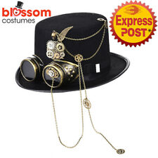 N33 Steampunk Black Top Hat with Buckle Costume Vintage Magician Ringmaster