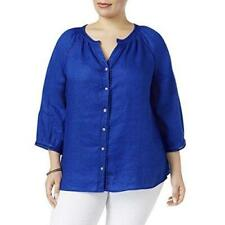 Charter Club Women's Blue Collarless Button Top Linen Size 0X NWT MSRP $79 A3