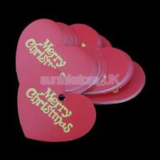 50± Merry Christmas Heart Shape Paper Gift Tags Scallop Label Blank Cards