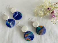 Handmade Polymer Clay Sea Blue / Moon Marble Double Drop Circular Earrings