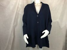 Charter Club Long Sleeve Button Down Sweater Navy Blue Women's Plus Size 1X NEW]