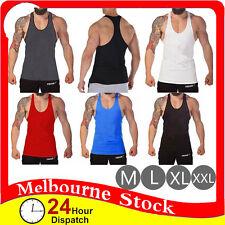 Mens Gym Singlet T Back Tank Top Vest Racer Y Back Bodybuilding Cotton Man Men