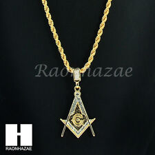 """ICED OUT MASONIC FREEMASON SQUARE G 14K GOLD PLATED 24"""" ROPE NECKLACE CHAIN K027"""