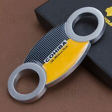 COHIBA Sharp Stainless Steel Double Blades Cigar Cutter/Guillotine Cigar Tool