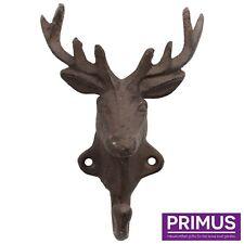 Primus Decorative Cast Iron Deer Head Single Coat Hook PC4484 Rustic Homeware