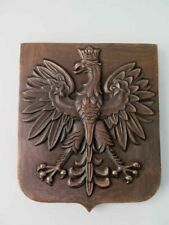 Vintage Made in Poland POLISH Bronze or Brass EAGLE Badge / Wall Plate