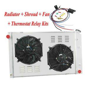 4 Rangée Radiateur&Ventilateur+Relais Pour Chevy C/K C10 C20/C30/K10 Pickup GMC