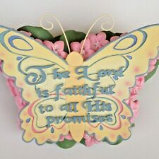 The Lord is Faithful Decorative Inspirational Butterfly with Pink Flowers NEW