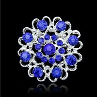 GOOD TONE HEART & FLOWER RHINESTONE DIAMANTE CRYSTAL PIN BROOCH royal blue 19010