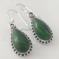 Solid 925 Sterling Silver Malachite Teardrop Gemstone Earrings Handmade Jewelry