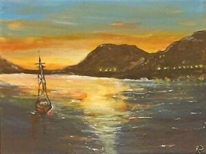 """Sunset Boat"" Original Painting- De Martino Art"