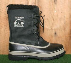 SOREL 'Caribou' Black Nubuck Leather & Rubber Winter Snow Pac Boots Men's Sz. 10