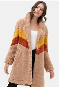 40//42 Ladies Plush Jacket Teddy Jacket Teddy Cuddly Winter Ski Warm Green M