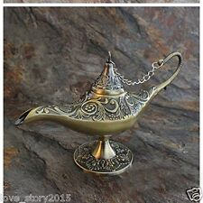 "Rare 8.5"" Antique Magic Lamp Home Decoration Collectible Wishing Genie bronze"