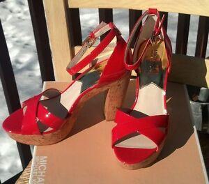 NIB Women's Michael Kors Camilla Platform Open Toe Heeled Sandals, 8M, Mandarin