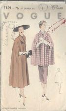 "1952 Vintage VOGUE Sewing Pattern CAPE B30""-32"" (R709)"
