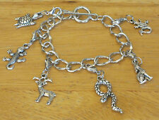 Silver-Tone Desert/Mountain  Animal Toggle Charm Bracelet Turtle/Coyote/Snake+