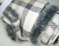 "Pottery Barn Gray Nottingham Plaid Faux Fur Backed Throw Blanket 50""X60"" New"