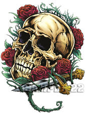 Skull & Roses Iron On Transfer for light, cotton/mix fabrics Ref 01 - 22
