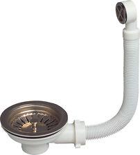Bonde de vidange à panier inox pour évier, diam 90 mm avec trop plein rond