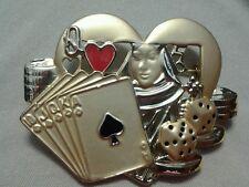 Las Vegas Coat Pin, Gambling Brooch, Queen of Hearts, Spades, Dice, Casino Chips