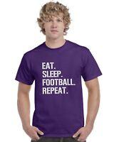 Eat Sleep Football Repeat Kids T-Shirt Footy Tee Top Ages 3-13