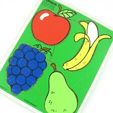 Playskool Frame Tray Puzzle Favorite Fruits 4 Piece Vintage 1985 Made In USA