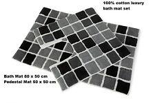 New Square Blocks 100% Cotton 2 Piece Bath Mat Set, Black/White/Grey combination