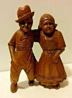VTG Dutch Hand Carved Folk Art Figurine Dancing Couple Antique Wood Sculpture