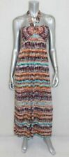 MSK Brown/Aqua/White Print Stretch Padded Bandeau Halter Tie Maxi Dress sz 6
