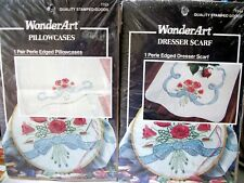 "2 kits Stamped Xstitch WonderArt ""ROSES & RIBBONS"" pillowcases & scarf"