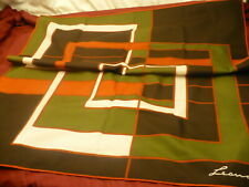 "Leonard vintage geometric design scarf kerchief 30"" square rolled hem S171"