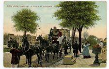 Vanderbilt's Coach at Claremont Hotel RARE ANTIQUE NYC PC Horses ca. 1908