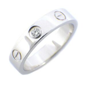 Auth Cartier Ring Mini Love 1 Point Diamond 0.02ct 750 White Gold #49 US4.75
