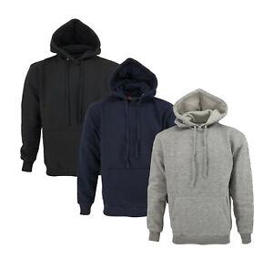 UK Mens Plain Basic Hoodie Hoody Fleece Pullover Jumper Sweatshirt Top Warm Coat