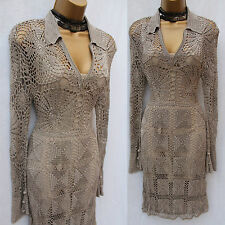 Rare Karen Millen Hand Crochet Knitted Khaki Grey Cocktail Party Dress KM 1/UK8