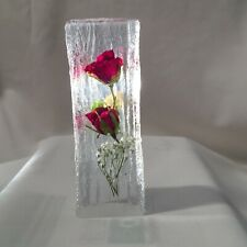 PAPER WEIGHT HAND MADE WITH REAL RED ROSES