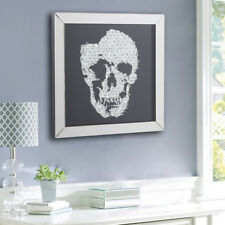 Stunning Mirrored Black 3D Skull Crystal Jewel Gem Wall Mirror Table Art Picture