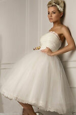 NEW Custom White/Ivory Tulle Short Wedding Bridesmaid Dress Ball Prom Party Gown