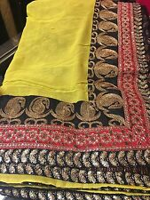 Indian Designer Saree Bollywood Party Wear Diwali Sari Dress Yellow Black Gold