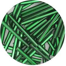 Czech Glass Bugle Beads 25mm ( 1 inch ) Green Silver Lined