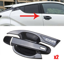4pcs Carbon Fiber Car Door Handle Cover Trim For Toyota CHR C-HR 2016-2018 New